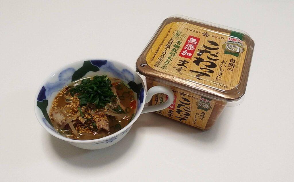 「こだわってます」を使った豚もやしの味噌スープ